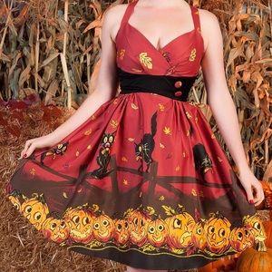 PUG Pumpkin Border Zooey Dress